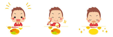 Illustration of a little boy eating with good manners.