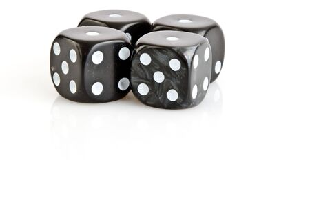 four in one: Loser with four one on black dices with white background