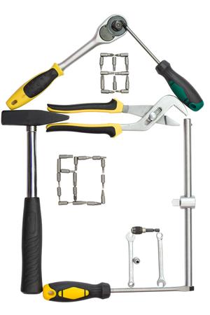 furniture hardware: La casa hecha de herramientas en un fondo blanco