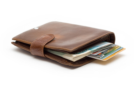 Purse with credit cards on a white background photo