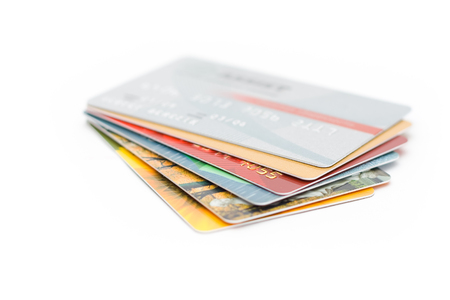 Plastic cards on a white background photo
