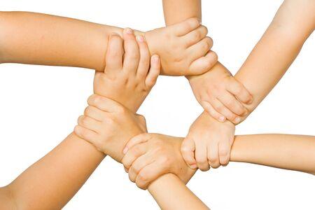 Chain of childrens hand photo