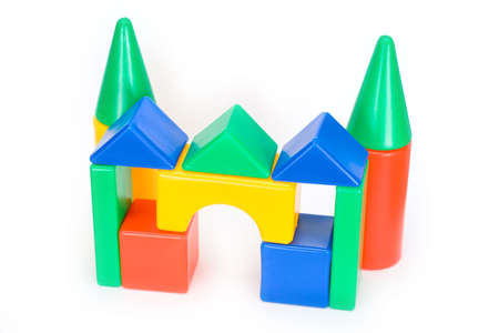 Small house from the childrens designer on a white isolated background photo