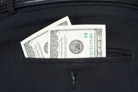 pochette: Two hundreds dollars in a back pocket of trousers