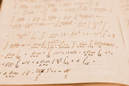 Writing-book on higher mathematics with formulas Stock Photo - 2075177