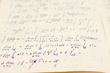 Writing-book on higher mathematics with formulas Stock Photo - 2154925