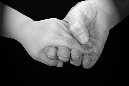 grand daughter: The black-and-white image of hands of the grand daughter and the grandmother