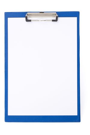 clipboard with the handle and a sheet of a paper on an isolated background Stock Photo - 3031183