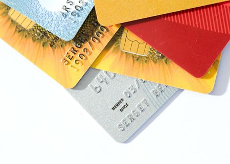 Pile from several credit cards photo