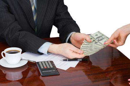 accounts payable: The businessman at the office, working with documents Stock Photo