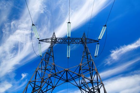 volts: Electric transmission power lines tower structure