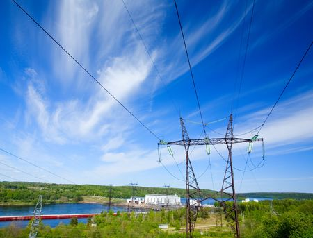 Hydroelectric power station on the river photo
