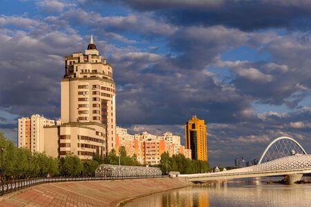Multi-storey residential complex on the embankment in Astana, the capital of Kazakhstan Stok Fotoğraf