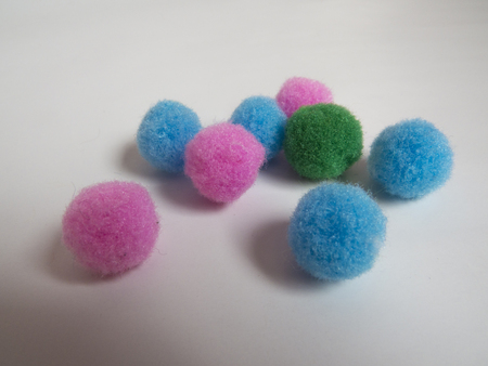 Pink green and blue balls