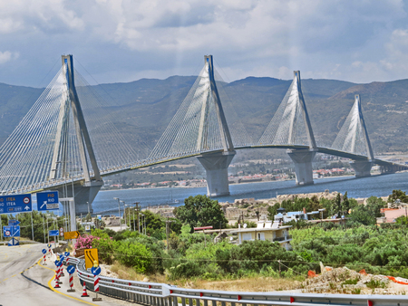 Antirrio bridge or Charilaos Trikoupis Bridge Stock Photo