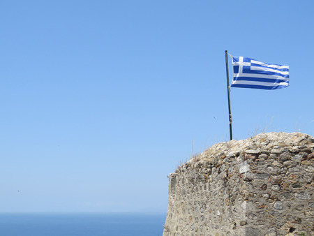 Greec flag on top of the ancient fortress of Patras Stock Photo