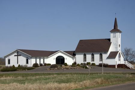 a little country church building Stock Photo