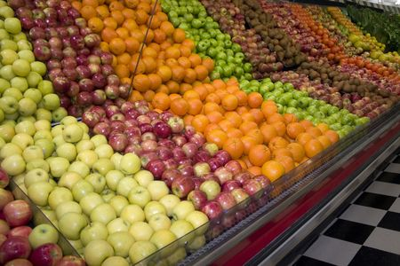 a fruit display in a grocery store Stock Photo - 386165