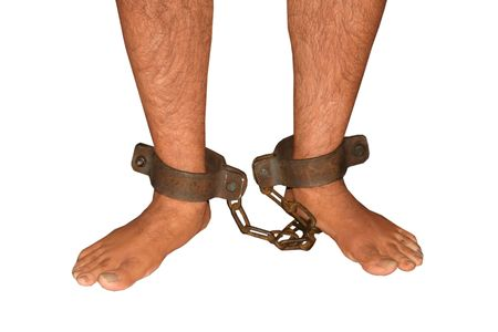 cuffed: legs that are shackled