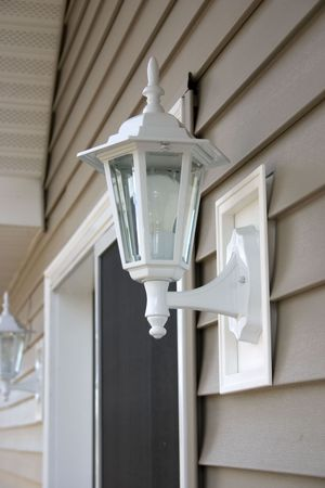 sided: a porch light Stock Photo
