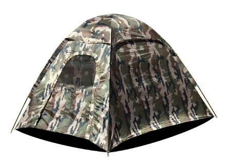 camouflaged: A camouflaged   pop-up tent Stock Photo