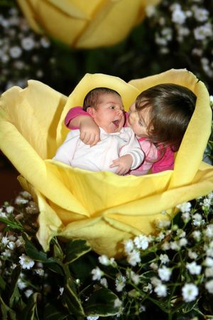 two little girls in a rose
