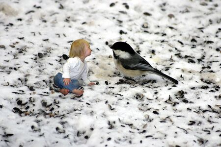 A little girl chatting with a chickadee