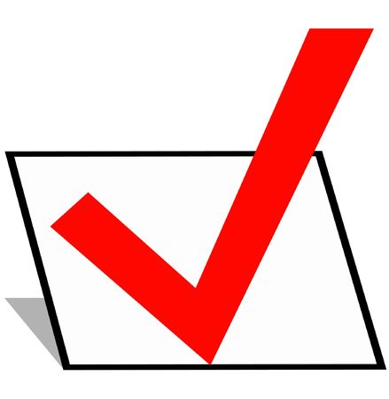 finals: a checkmark in a black box Stock Photo