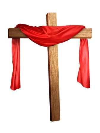 een kruis met een rode doek gedrapeerd over het