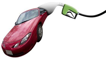 A gas pump eating a car