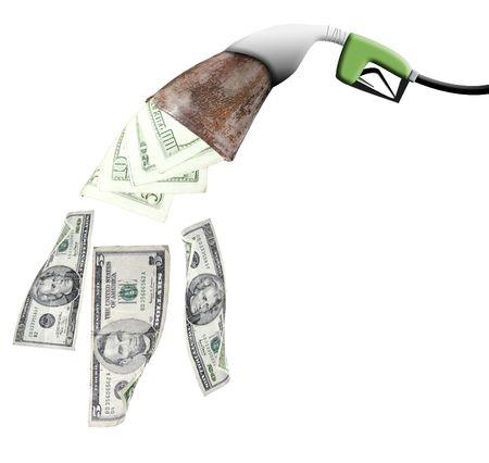 A gas pump eating a wallet Фото со стока