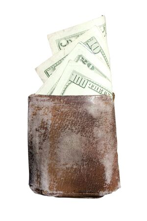 an old wallet with cash hanging out