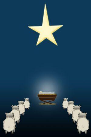 an illustration of  Jesus in a manger