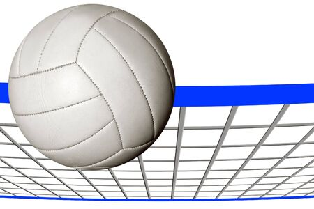 participate: A volley ball over an illustrated net Stock Photo