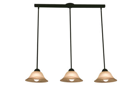 Three haning track lights on a white background