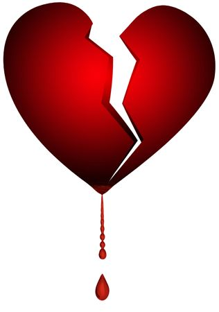 an isolated illustration of a broken heart Imagens