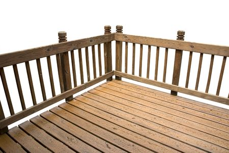 patio deck: a deck isolated on a white background Stock Photo