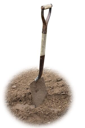 a shovel in the dirt on a white background