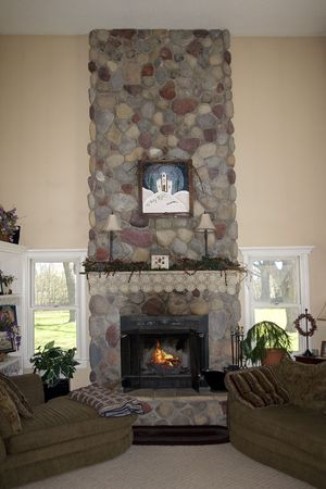a fireplace in a livinging room Stock Photo - 733260
