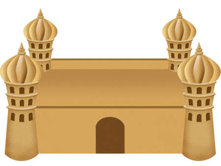 sand mold: an illustration of a sand castle on a white background Stock Photo