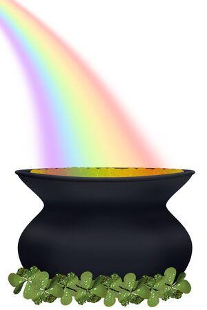 een pot met goud aan het einde van een regenboog Stockfoto