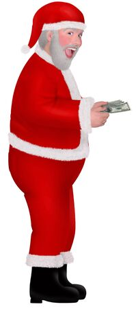 wad: a santa holding a wad of cash