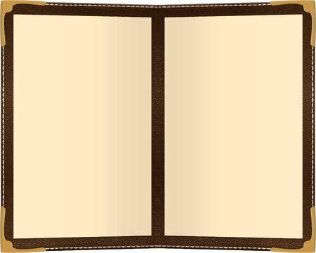 een twee pagina menu op wit wordt geïsoleerd Stockfoto
