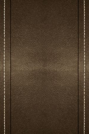 black leather: a background of leather with stitching on the edges Stock Photo