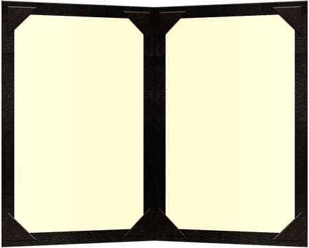 a black leather double paged menu Imagens - 828802