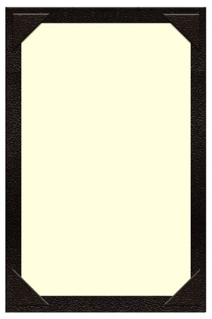 a single page black leather menu