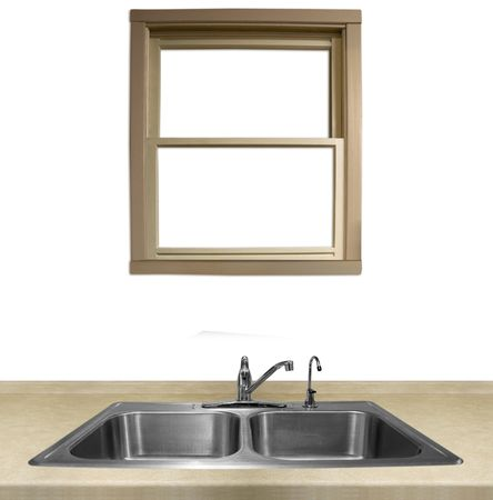 undecorated: a window overlooking a kitchen sink on a white background Stock Photo