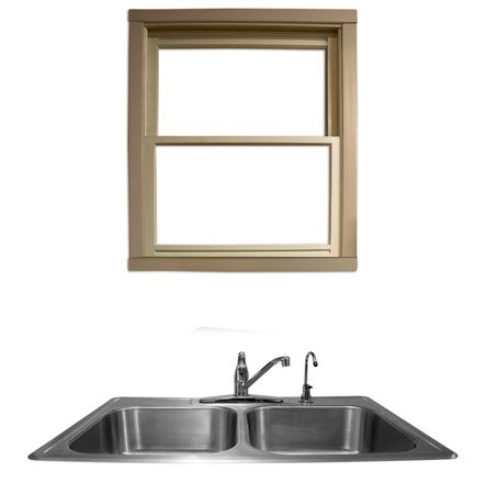boring frame: a window overlooking a kitchen sink on a white background Stock Photo