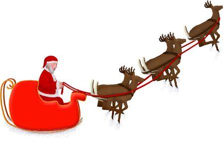 an illustration of santas sleigh being pulled by reindeer