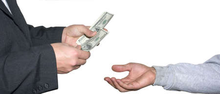 pay raise: a scruffy hand reaching for some money Stock Photo